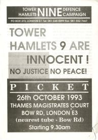 A leaflet in defence of the Tower Hamlets 9.