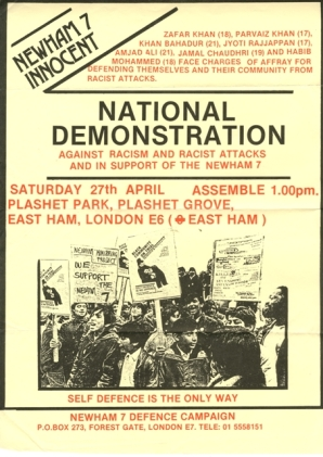 A poster from the Newham 7 Defence Campaign, 1984.
