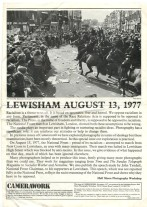 The front page of Camerawork's issue on the Battle of Lewisham.