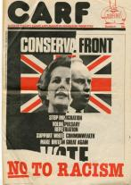 Front page of the newspaper of Campaign Against Racism and Fascism (CARF).