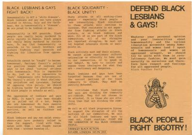 A leaflet for a campaign to defend black gays and lesbians.