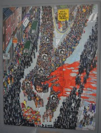 A painting depicting the funeral march of Blair Peach, who was killed at an anti-fascist demonstration in Southall.