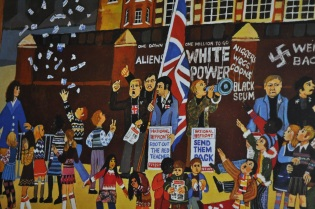 A poster for a rally against racism in schools (detail).