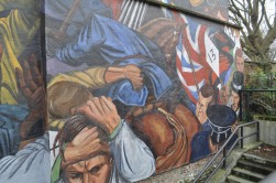 A mural on Cable Street depicting the 1936 Battle of Cable Street (detail).
