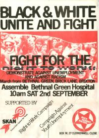 Poster (incomplete) for a march against racism and unemployment.