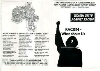 A leaflet for Women Unite Against Racism.